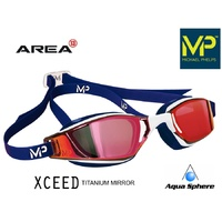 MP Michael Phelps XCEED Swimming Goggles White,Red Titanium Mirror RACING GOGGLES Aqua Sphere