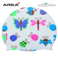 DOLFIN YOUTH PRINTED SWIM CAP - LA LA BUGS, SWIMMING CAP, SILICONE SWIM CAP