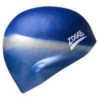 ZOGGS MULTI COLOUR MOULDED SILICONE SWIM CAP BLUE & SILVER