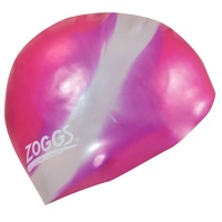 ZOGGS MULTI COLOUR MOULDED SILICONE SWIM CAP PINK & SILVER
