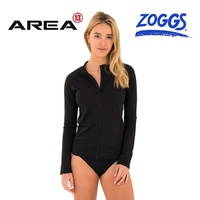 ZOGGS WOMEN'S LONG SLEEVE FULL ZIP SUN PROTECTION TOP BLACK , WOMEN'S RASHIE , SUN TOP
