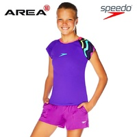 SPEEDO GIRLS WAVE ROCK CAP SLEEVE SUN TOP PURPLE PINK, GIRLS RASHIE