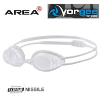 VORGEE MISSILE SWIMMING GOGGLES, CLEAR LENS, WHITE, SWIMMING GOGGLES