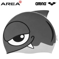 ARENA WATER TRIBE JUNIOR FISH SWIM CAP SILVER, CHILDREN'S SWIM CAP, KIDS SWIM CAP