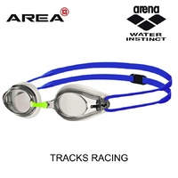 ARENA TRACKS RACING SWIMMING CLEAR LENS GOGGLES, WHITE/CLEAR/BLUE