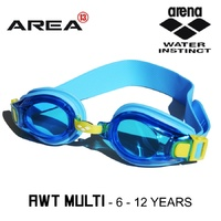 ARENA AWT MULTI JUNIOR SWIMMING GOGGLES, BLUE & YELLOW, CHILDREN'S SWIMMING GOGGLES