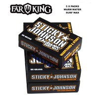 FAR KING STICKY JOHNSON SURF WAX WARM WATER , SURFBOARD WAX, STAND UP PADDLE BOARD WAX