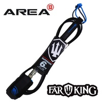 FAR KING 6ft SUPERIOR Surfboard Leg Rope / SURFBOARD LEASH BLACK BLUE CLEAR TOGGLE