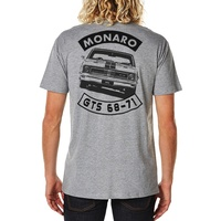 SLEDGEHAMMER INDUSTRIES  HOLDEN GTS MONARO  T SHIRT - HEATHER GREY - BACK PRINT