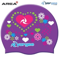 VORGEE HEARTS & FLOWERS Swim Cap, SWIMMING CAP, SILICONE SWIM CAP, SWIMMING GEAR