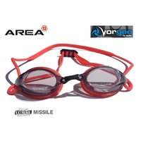 VORGEE MISSILE SWIMMING GOGGLES, SMOKED LENS, RED, SWIMMING GOGGLES