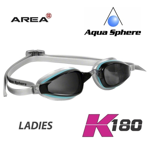 AQUA SPHERE Michael Phelps K180 LADIES SWIMMING GOGGLES, Aqua Silver,  TRIATHLON GOGGLES