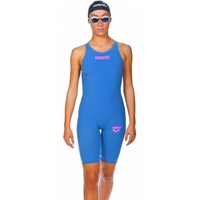 ARENA Women's Powerskin R-EVO ONE Open Back Race Suit - Blue Powder Pink, SWIMMING RACE SUIT