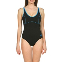 Arena Women's Tania Clip Back One Piece Swimwear - Black & Turquoise, Women's Swimsuit