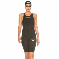 ARENA POWERSKIN CARBON AIR ² OPEN BACK FEMALE RACE SUIT  BLACK & GOLD, FINA APPROVED SWIMMING RACE SUIT