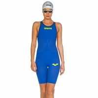 Arena Powerskin Carbon Air ² Open Back Female Race Suit Electric Blue, Dark Grey Fluro, Fina Approved Swimming Race Suit