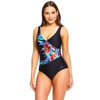 Zoggs Women's Hybrid Tropics Wrap Front One Piece Swimwear, Ladies Swimsuit