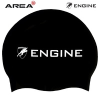 Engine Black Swim Cap, Swimming Cap, Silicone Swim Cap, Swimming Gear