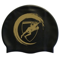 Engine Silicone Swim Cap - Black Wave with Gold Logo, Swimming Cap