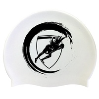 Engine Silicone Swim Cap - White Wave with Black Logo, Swimming Cap