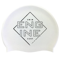 Engine Silicone Swim Cap - White Square Edge with Black Logo, Swimming Cap