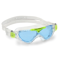 Aqua Sphere Vista Jr Swim Mask - Blue Lens - Clear Lime, Children's Swimming Mask, Goggles