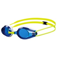 ARENA TRACKS JUNIOR RACING SWIMMING  GOGGLES BLUE LENS, WHITE & FLURO YELLOW