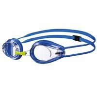 ARENA TRACKS JUNIOR RACING SWIMMING  GOGGLES CLEAR LENS, BLUE & FLURO YELLOW