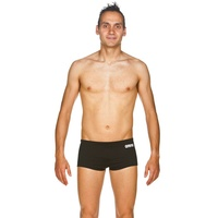 ARENA MEN'S SOLID SQUARED SHORT BLACK, WHITE, MEN'S SWIMWEAR