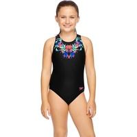 Speedo Girls Jungle Necklace Turbo Suit One Piece Swimwear, Girls Swimsuit