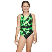 Speedo Girls School Colours Leaderback One Piece Swimwear - Black & Green Dye, Girls Full Piece Swimwear