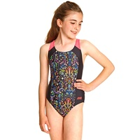 Zoggs Girls Maia Splice Back One Piece Swimwear, Girls Swimsuit