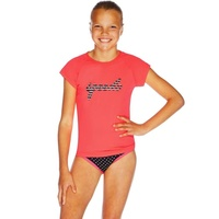 SPEEDO GIRLS LOGO CAP SLEEVE SUN TOP RED GUM, GIRLS RASHIE