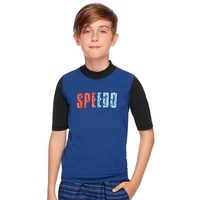 Speedo Boys Icon Logo SS Short Sleeve Sun Top - Black & Mariner ,  Boys Rashie