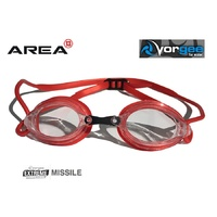 VORGEE MISSILE SWIMMING GOGGLES, CLEAR LENS, METALIC RED, SWIMMING GOGGLES