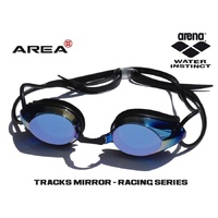 ARENA TRACKS RACING SWIMMING  GOGGLES, BLACK & BLUE MIRROR, TRAINING GOGGLE
