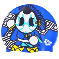 Arena Junior Blue Samurai Silicone Swim Cap, Kids Swim Cap, Arena Kun Series Childrens Swim Cap 100% silicone