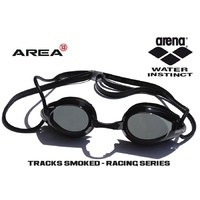 ARENA TRACKS RACING SWIMMING  GOGGLES, BLACK & SMOKED LENS, TRIATHLON GOGGLES