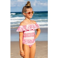 Sun Emporium Girls Indian Summer Pom & Ruffle Swimsuit, Girls Swimwear