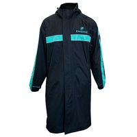 Engine Hooded Swimming Deck Parka Teal Stripe, Swim Deck Coat