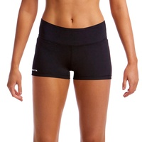 FUNKITA STILL BLACK SOLID WOMEN'S SWIM BOY LEG BRIEF, LADIES SWIMWEAR