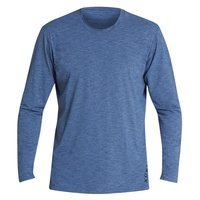 XCEL MEN'S BLUE HEATHER LONG SLEEVE UV-UBA SUN PROTECTION SHIRT - MEN'S RASHIE
