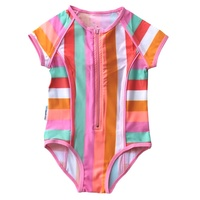 Mini Sandcrabs Short Sleeve Zip One Piece - Offbeat Rainbow - Children's Swimwear