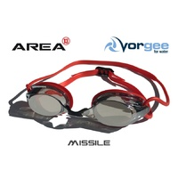 VORGEE MISSILE SWIMMING GOGGLES, MIRRORED LENS, RED MATALIC, SWIMMING GOGGLES