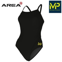 MP TEAM WOMEN'S MID BACK SOLID BLACK ONE PIECE, MICHAEL PHELPS SWIMWEAR, TRAINING SWIMWEAR