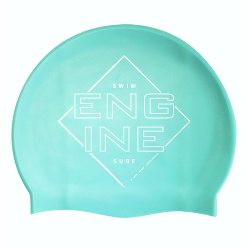 Engine Silicone Swim Cap - Teal Square Edge with White Logo, Swimming Cap
