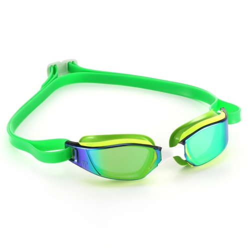 MP Michael Phelps XCEED Swimming Goggles Yellow Green Titanium Iridescent Mirror Racing Goggles