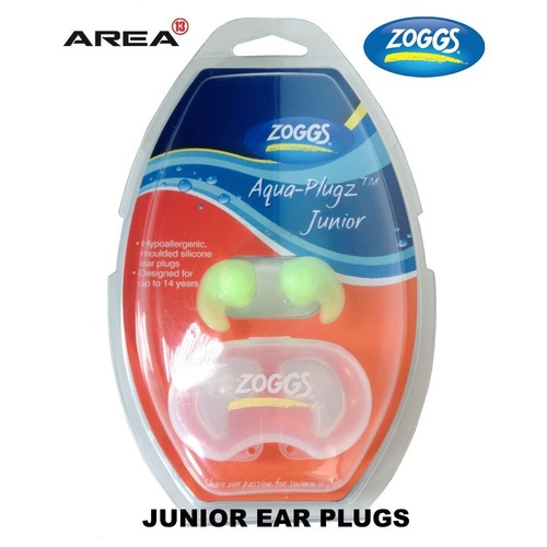 ZOGGS JUNIOR AQUA EAR PLUGS - GREEN, SWIMMING EAR PLUGS, SILICONE EAR PLUGS