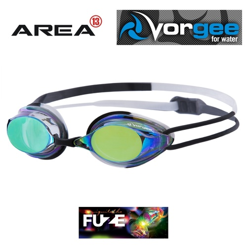 Vorgee Missile Fuze Swimming Goggle, Rainbow Mirrored Black/White, Swimming Goggles