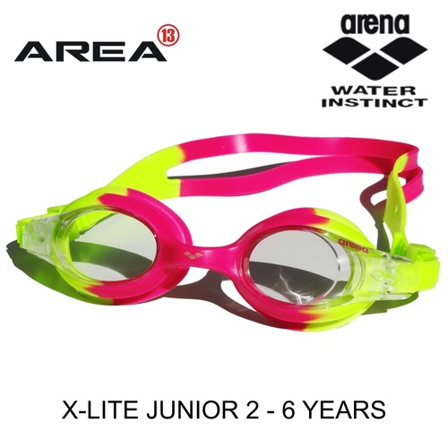 ARENA X-LITE JUNIOR SWIMMING GOGGLES, PINK & FLURO, CHILDREN'S SWIMMING GOGGLES